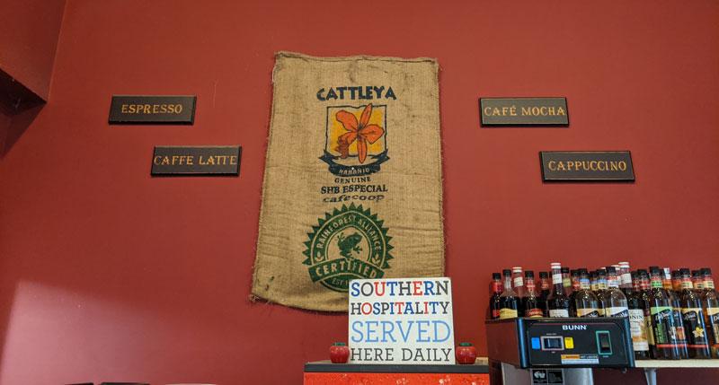 coffee bag hanging on a wall