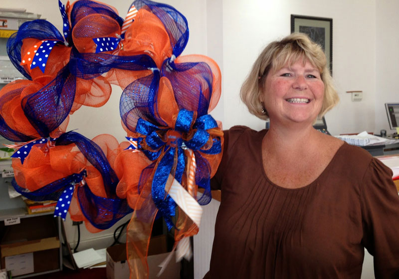 Dee Dee Cate with her wreath of ribbons